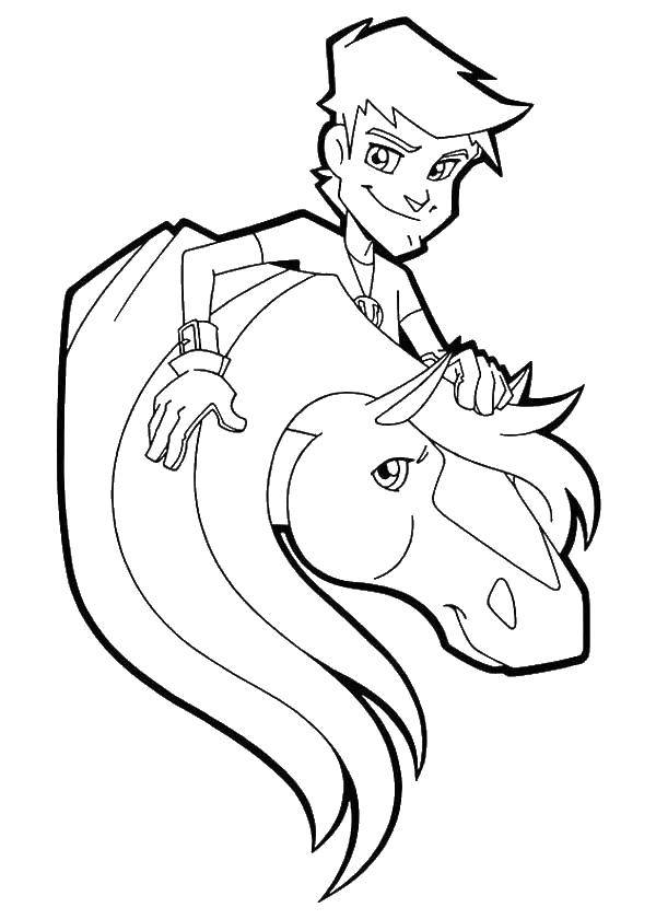 Раскраска Конюх с лошадкой Скачать конюх, лошадь.  Распечатать ,Диснеевские раскраски,