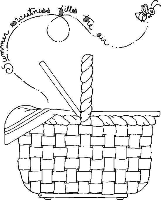 Раскраска Корзинка для пикника Скачать корзинка, еда.  Распечатать ,Еда,