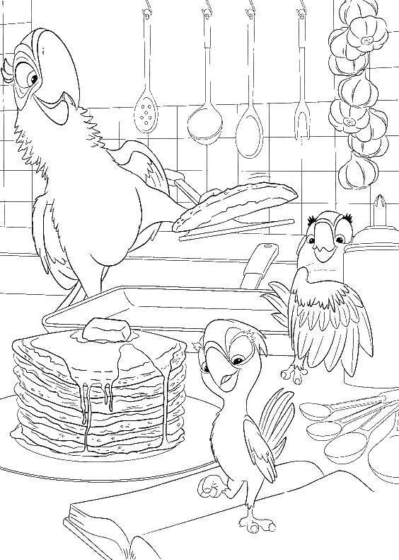 Раскраска Красавчик с детьми Скачать ,рио, голубой ара, попугай,.  Распечатать