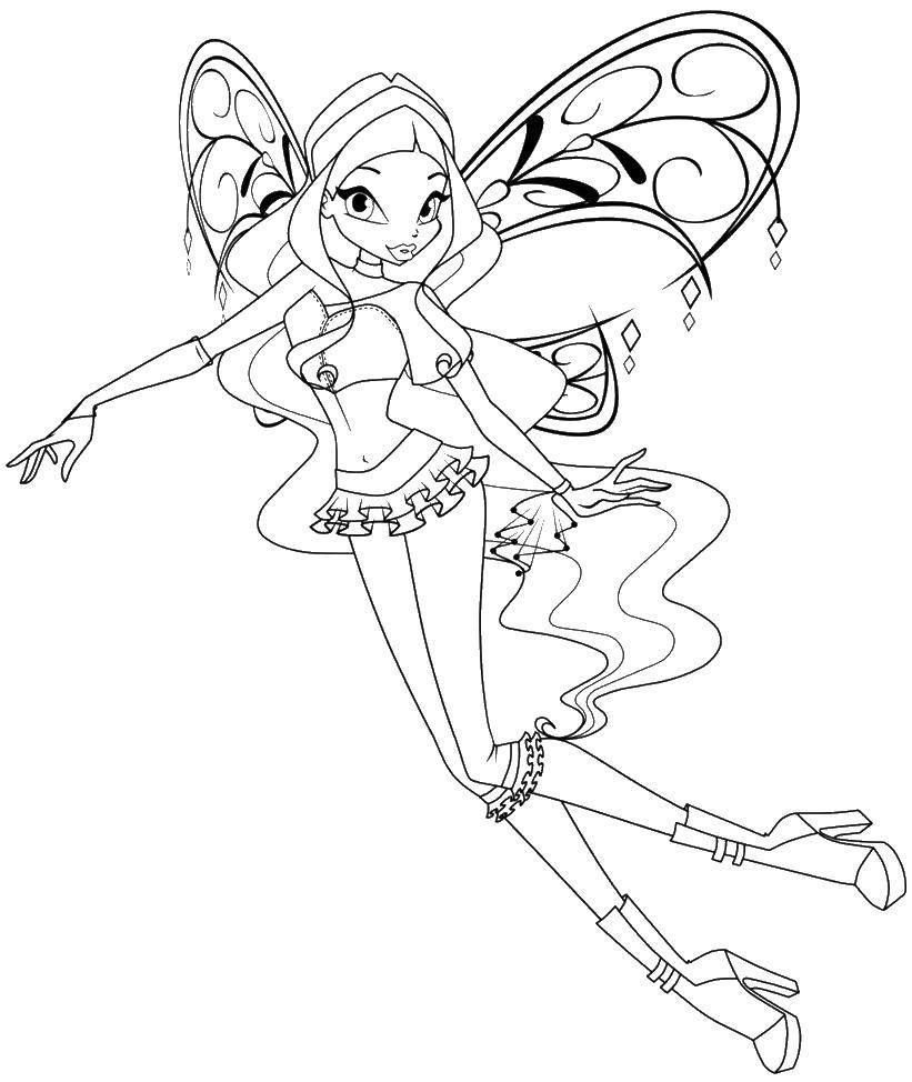 Раскраска Крылья и флора. Скачать Флора, фея, крылья.  Распечатать ,Винкс,