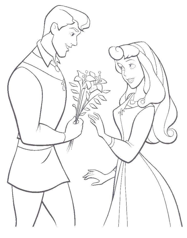 Раскраска Принц дарит авроре цветы Скачать аврора, принцесса.  Распечатать ,Диснеевские раскраски,