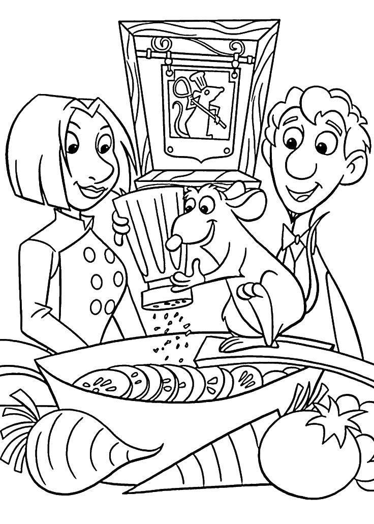 Раскраска Реми готовит для лингвини и колетт Скачать Реми, Лингвини, Колетт.  Распечатать ,рататуй,