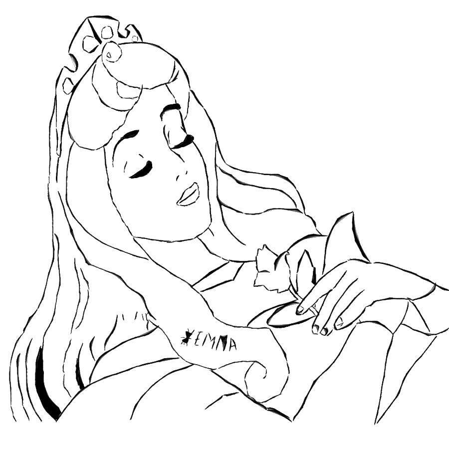 Раскраска Спящая красавица аврора Скачать аврора, принцесса.  Распечатать ,Диснеевские раскраски,