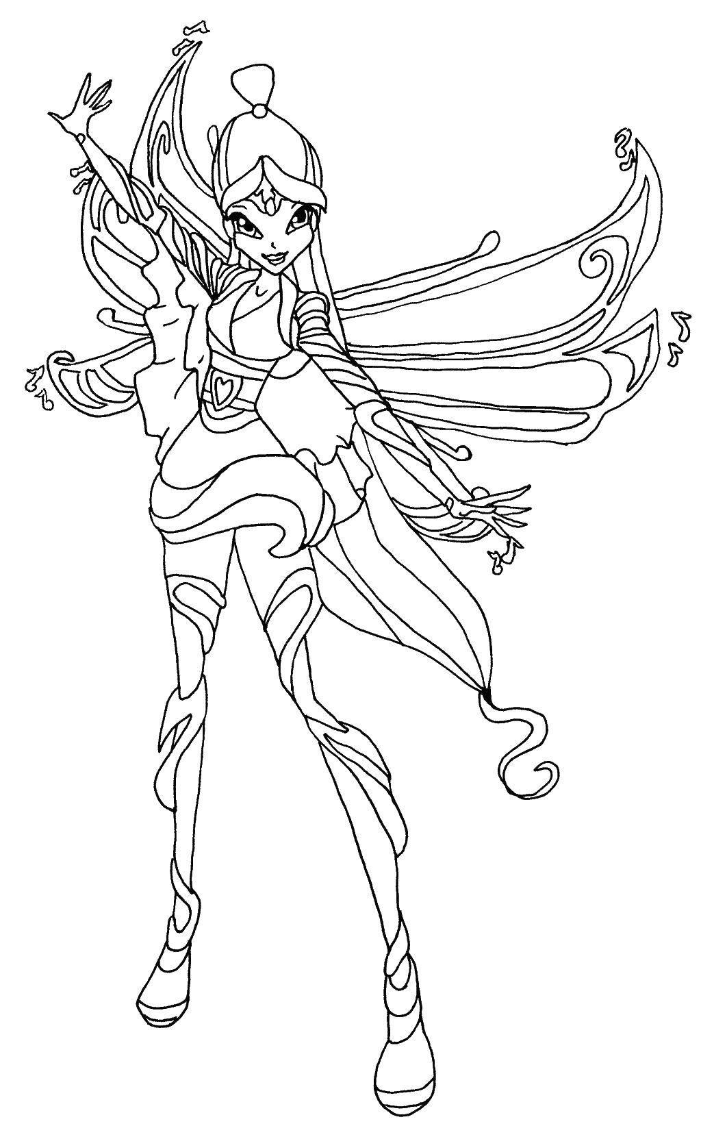 Раскраска Стела и крылья. Скачать Стелла, фея, крылья.  Распечатать ,Винкс,