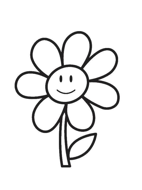 Раскраска Веселая ромашка Скачать Цветы.  Распечатать ,Раскраски для малышей,