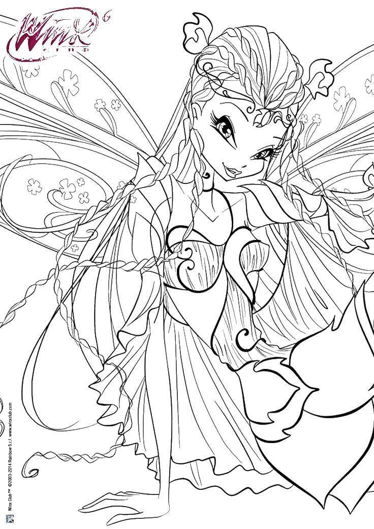 Раскраска Винкс с крыльями. Скачать винкс, феи, платье.  Распечатать ,Винкс,