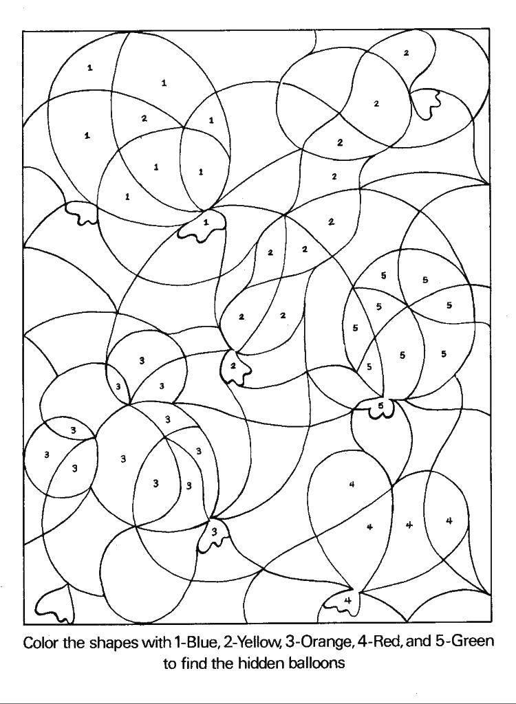Раскраска Воздушные шарики  по номерам Скачать раскраски по номерам, шарики.  Распечатать ,раскраски по номерам,