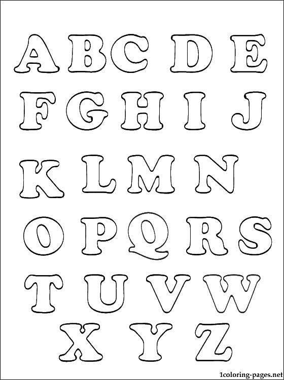Раскраска Английский алфавит Скачать ,алфавит, английский язык, буквы, буковки,.  Распечатать