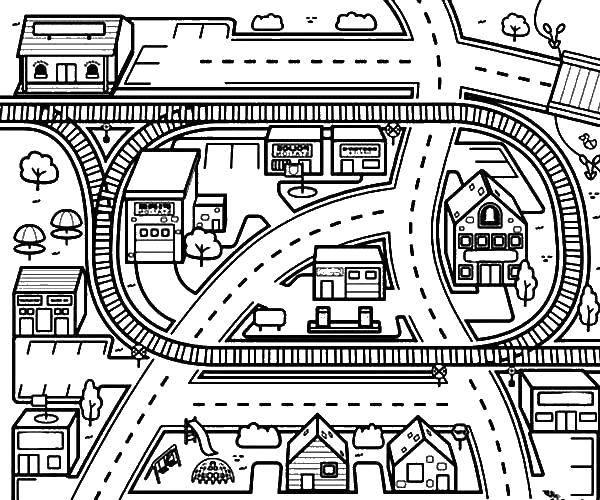 Раскраска город Скачать ,дорога, дом, деревья,.  Распечатать