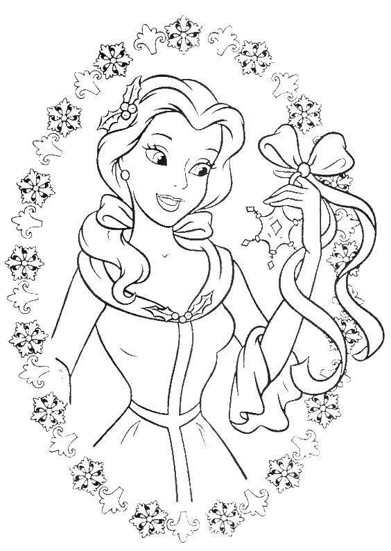 Раскраска Бель в рамке Скачать принцессы, мультфильмы, сказки, Бель.  Распечатать ,Диснеевские раскраски,