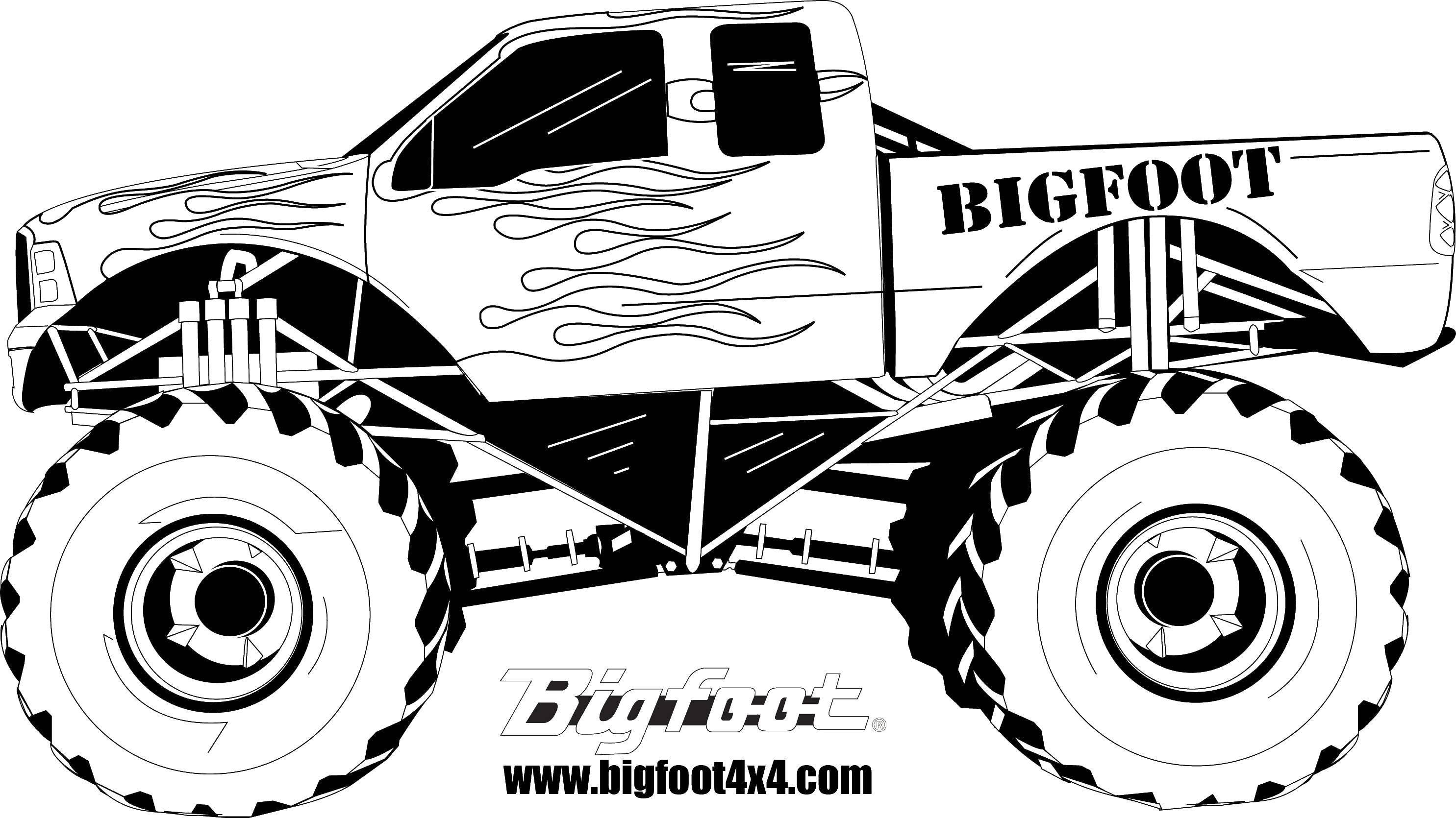 Раскраска Bigfoot Скачать ,монстры, машины, джипы,.  Распечатать