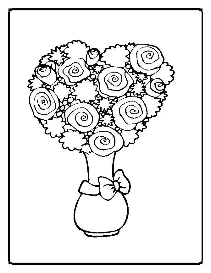 Раскраска Букет роз в вазе с бантом. Скачать Цветы, букет, ваза.  Распечатать ,Цветы,