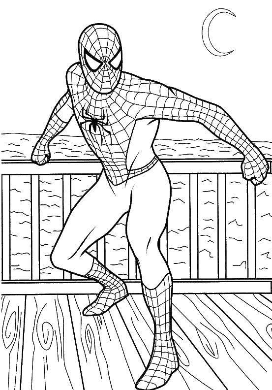 Раскраска Человек паук на корабле Скачать человек паук, супергерои.  Распечатать ,супергерои,