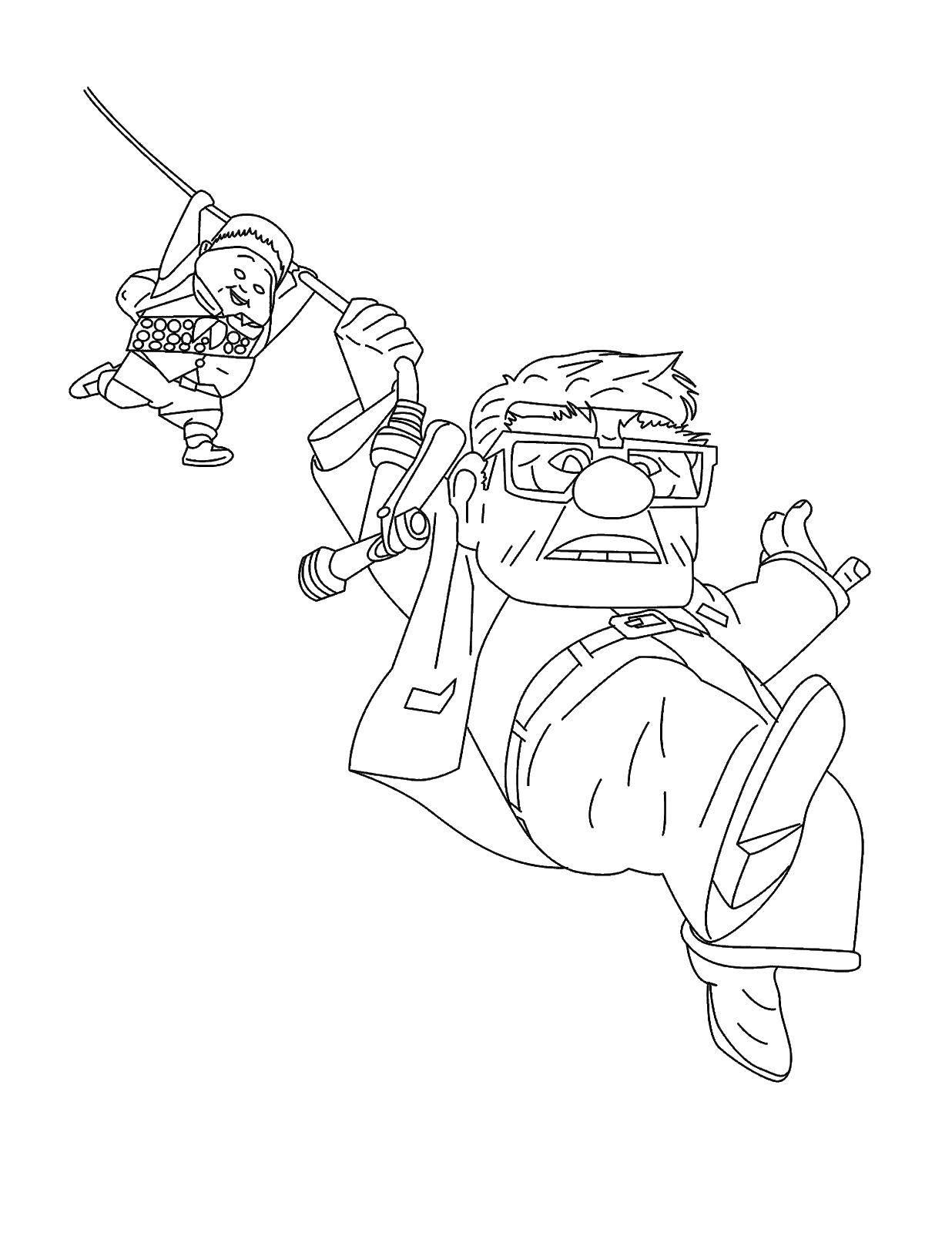 Название: Раскраска Дедушка из мультика вверх. Категория: мультики. Теги: мультики, вверх.