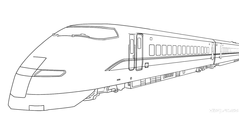 Раскраска Длинный поезд Скачать поезда, транспорт.  Распечатать ,поезд,