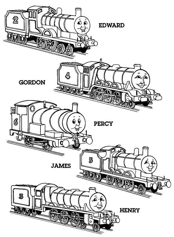 Раскраска Герои мультика томас Скачать Томас, паровоз.  Распечатать ,мультики,