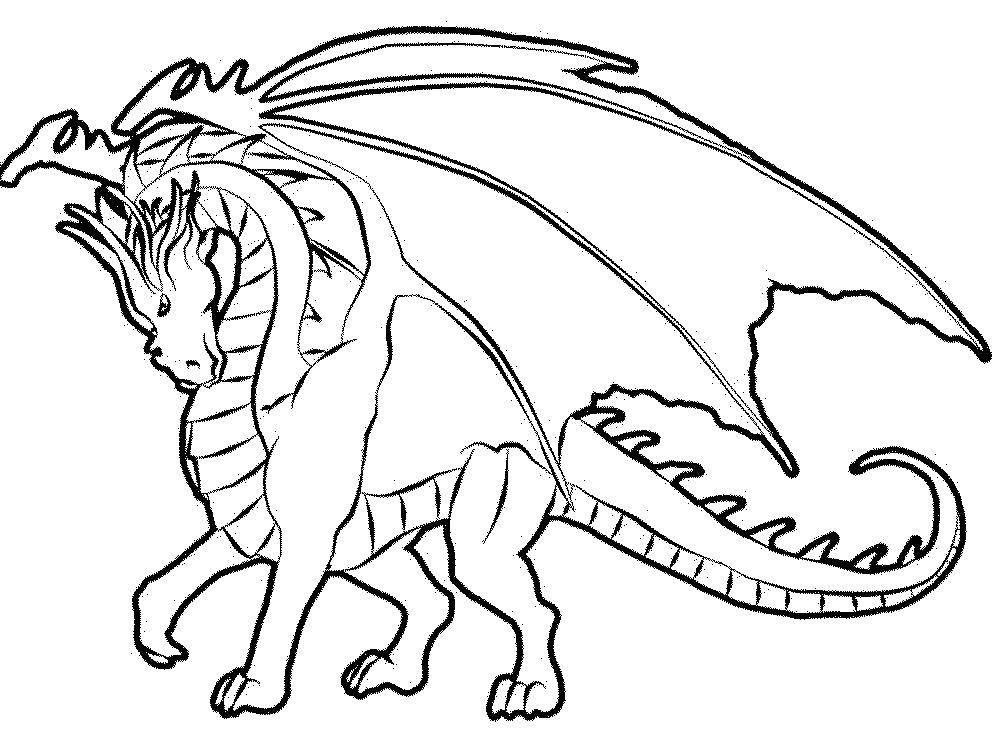 Раскраска Крылатый дракон Скачать сказки, драконы, дракончики.  Распечатать ,Сказки,