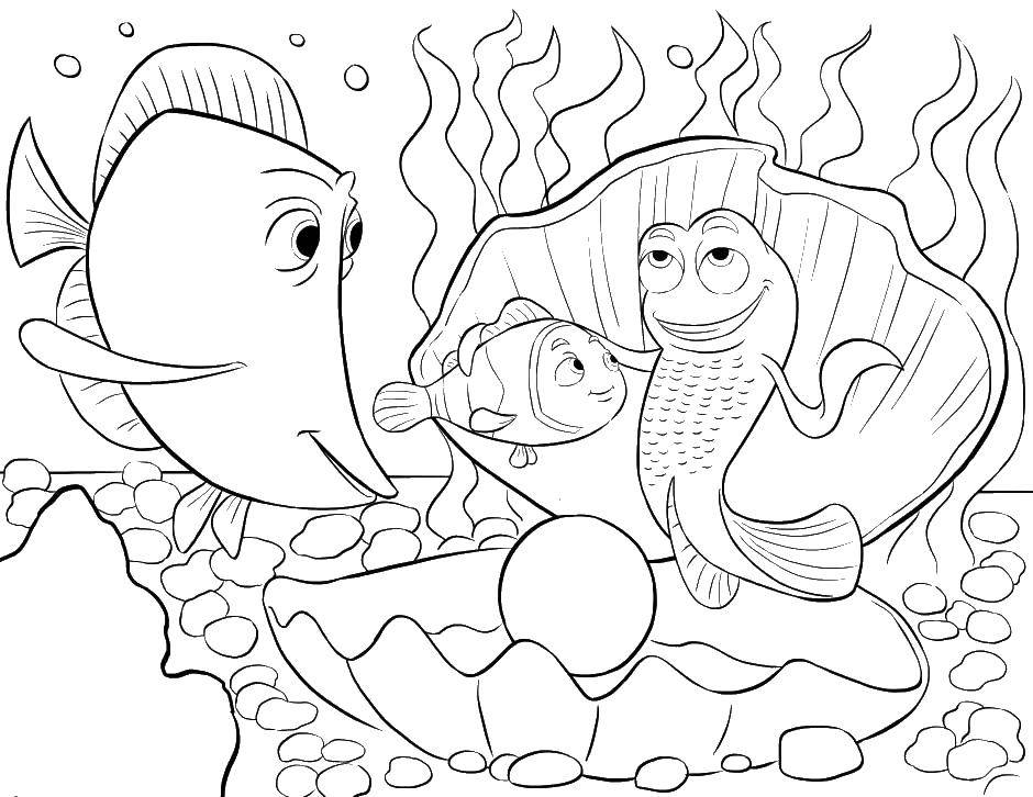 Раскраска Рыбки и немо Скачать мультфильмы, немо, рыбки.  Распечатать ,мультфильмы,