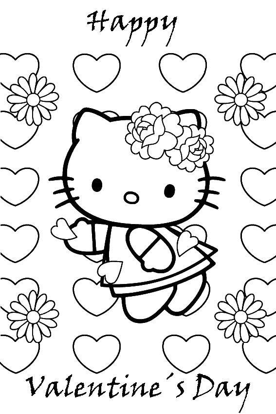 Раскраска С днем святого валентина. Скачать хэллоу китти, день святого валентина.  Распечатать ,Хэллоу Китти,