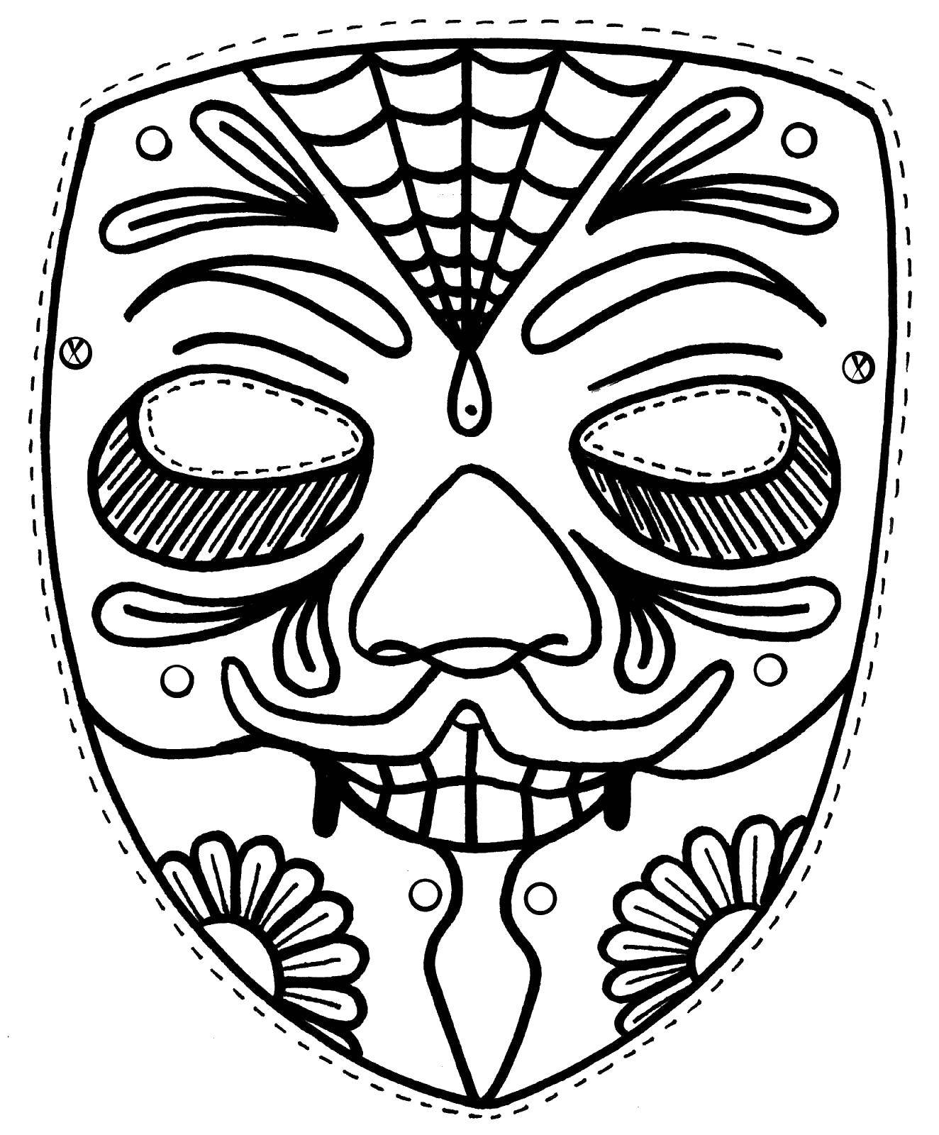 Раскраска Страшная маска Скачать маски.  Распечатать ,Маски,