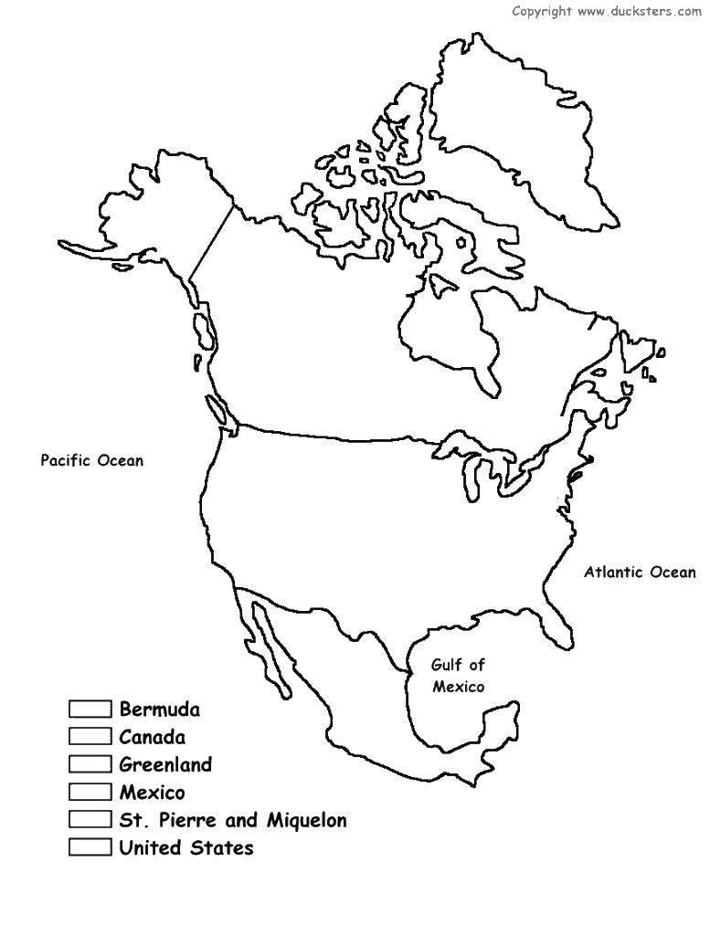 раскраски северной раскраска карта северной америки карты