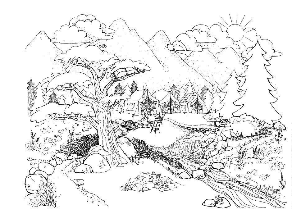 Название: Раскраска Красивая природа. Категория: Природа. Теги: природа, горы, домики.