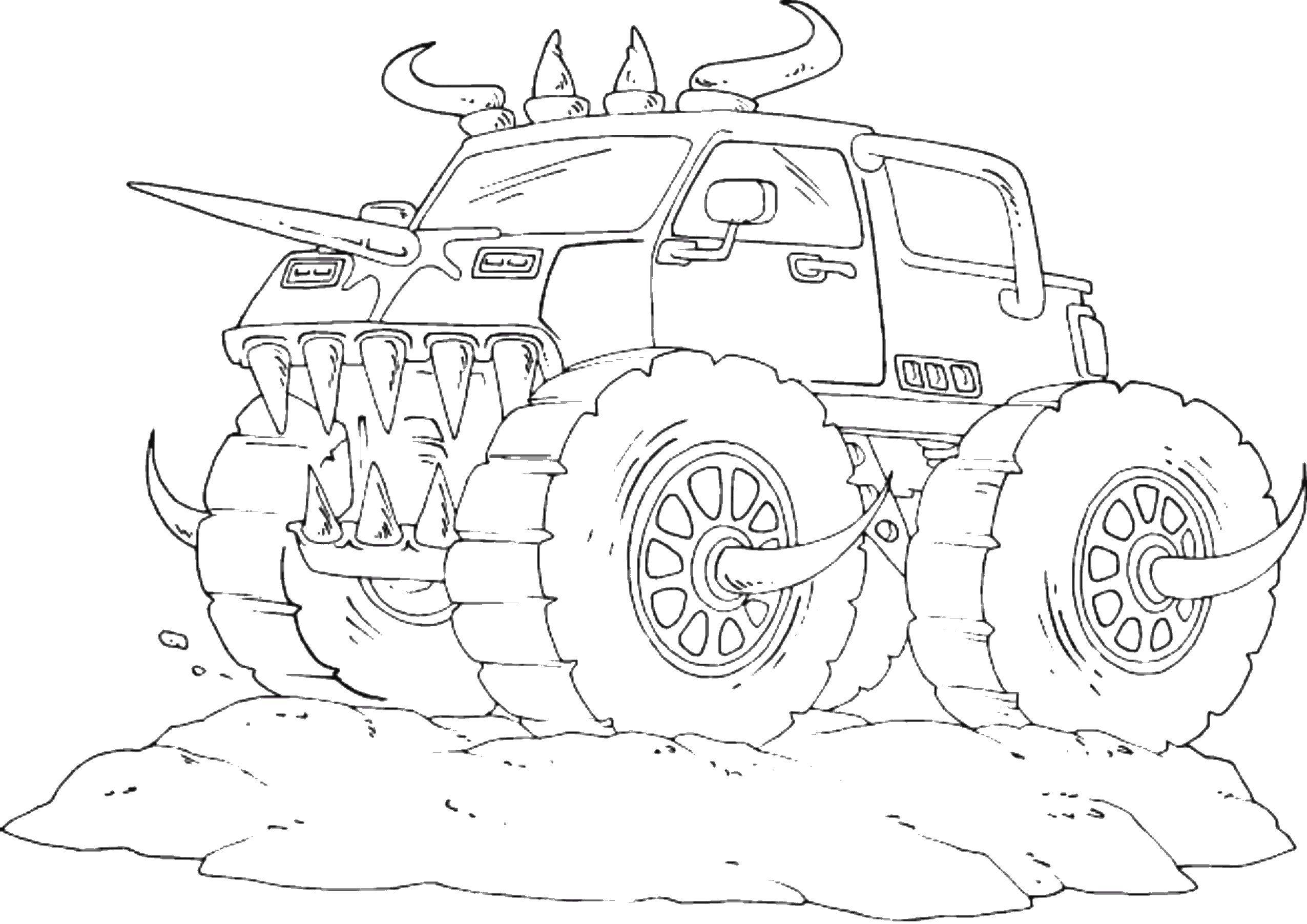 Раскраска Монстры Скачать ,монстры, машины, джипы,.  Распечатать