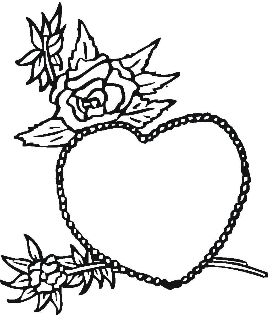 раскраски цвет раскраска сердечки и розы цветы