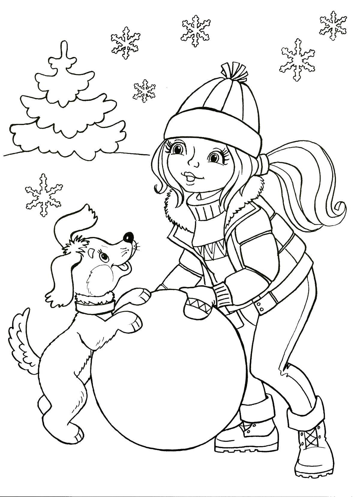 Раскраска Девочка и собачка лепят снеговика Скачать зима, снег, снеговик, девочка.  Распечатать ,зима,