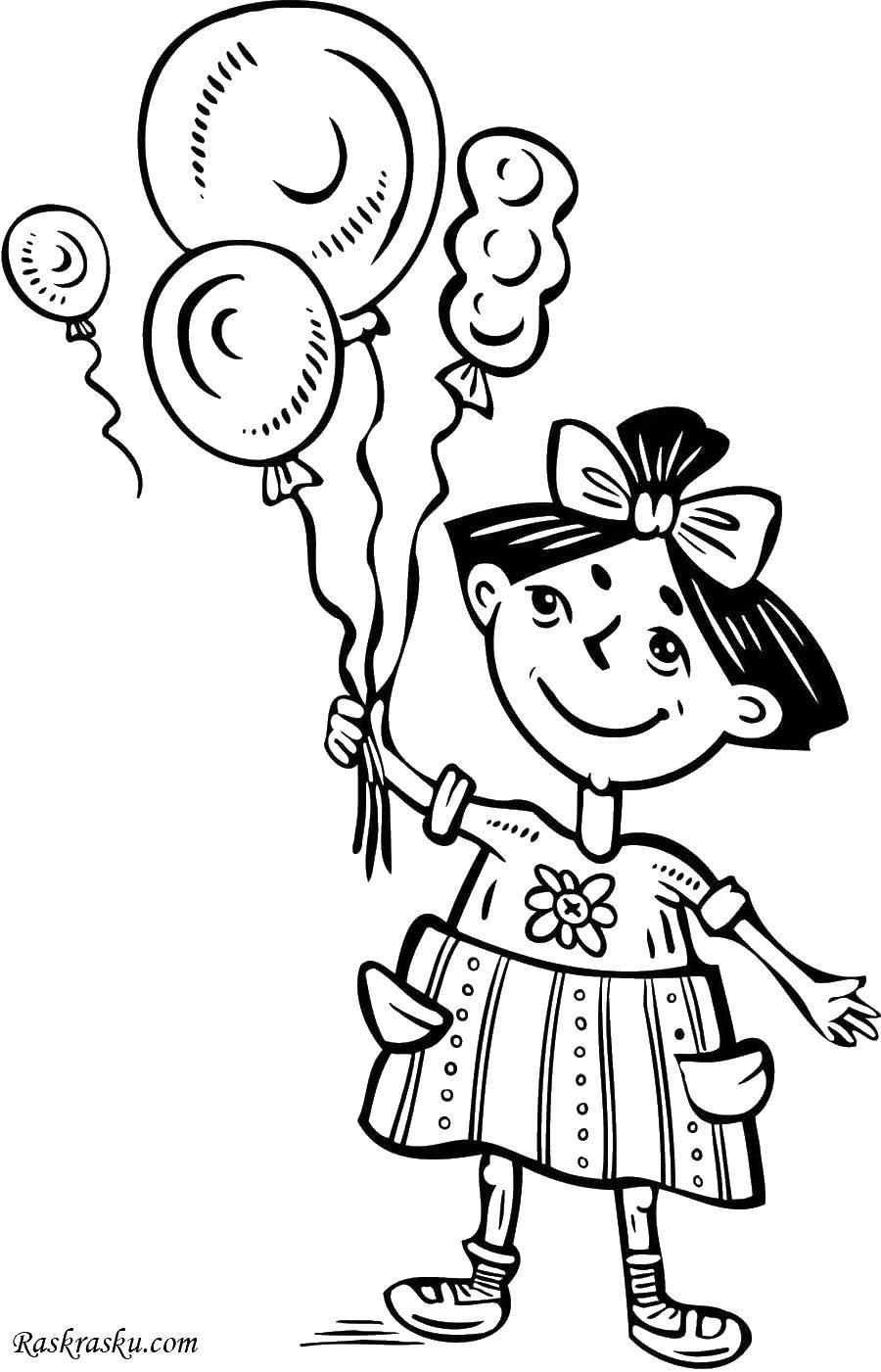 Раскраска Девочка с шарами Скачать девочка, шары, дети.  Распечатать ,Девочка,