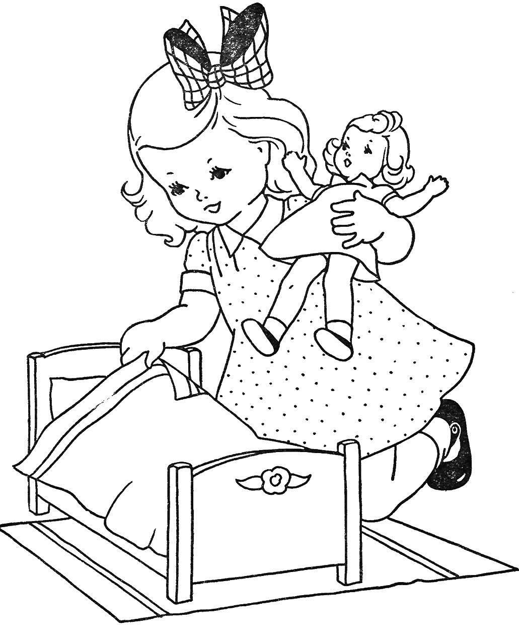 Раскраска Девочка укладывает куклу Скачать девочка, кукла, дети.  Распечатать ,Куклы,