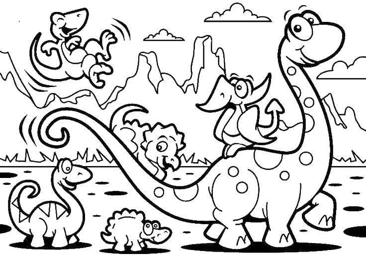 Раскраска Динозавр и маленькие динозаврики Скачать парк юрского периода, динозавры.  Распечатать ,парк юрского периода,