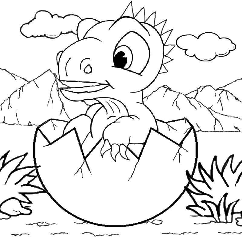 Раскраска Динозавр вылупляется Скачать парк юрского периода, динозавры.  Распечатать ,парк юрского периода,