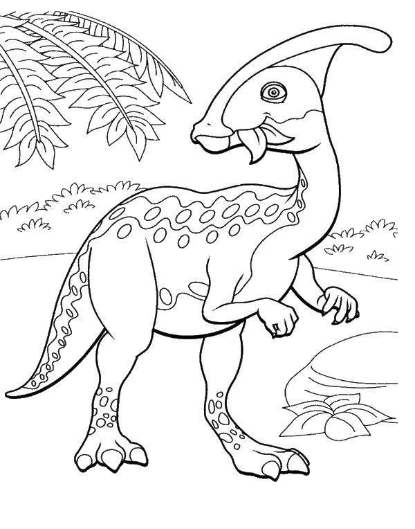 Раскраска Динозаврик. Скачать парк юрского периода, динозавры, мультфильмы.  Распечатать ,парк юрского периода,