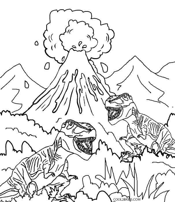 Раскраска Динозавры у вулкана. Скачать парк юрского периода, динозавры, вулкан.  Распечатать ,парк юрского периода,