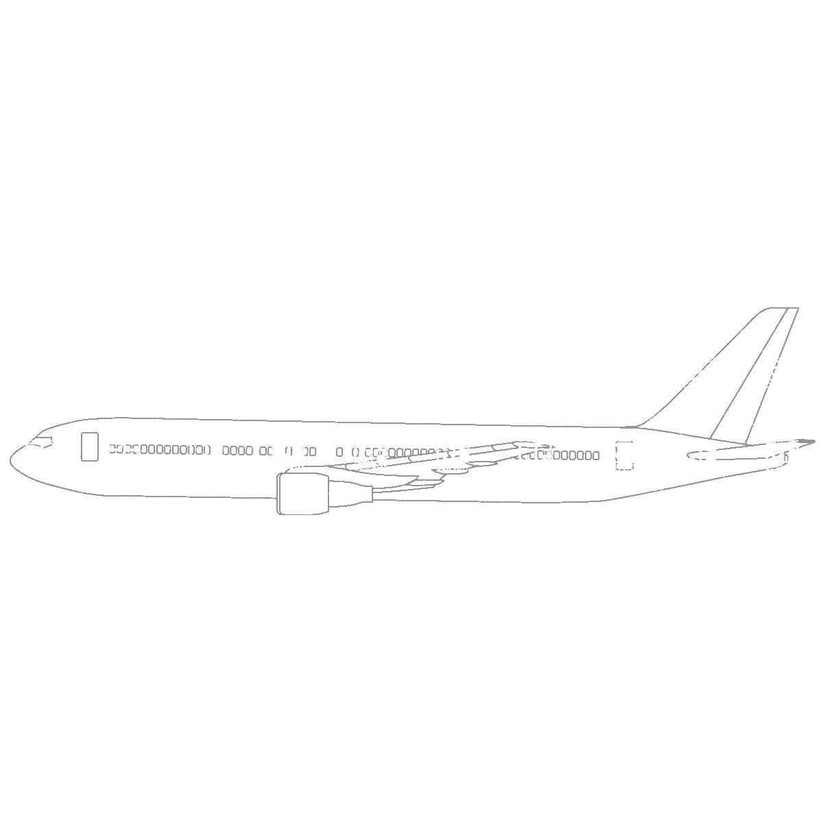 Раскраска Длинный самолет Скачать самолеты, самолет, пассажирский самолет.  Распечатать ,самолеты,