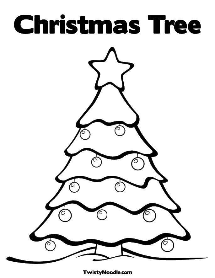 Раскраска Елка на рождество Скачать Рождество, елка, шары.  Распечатать ,Рождество,