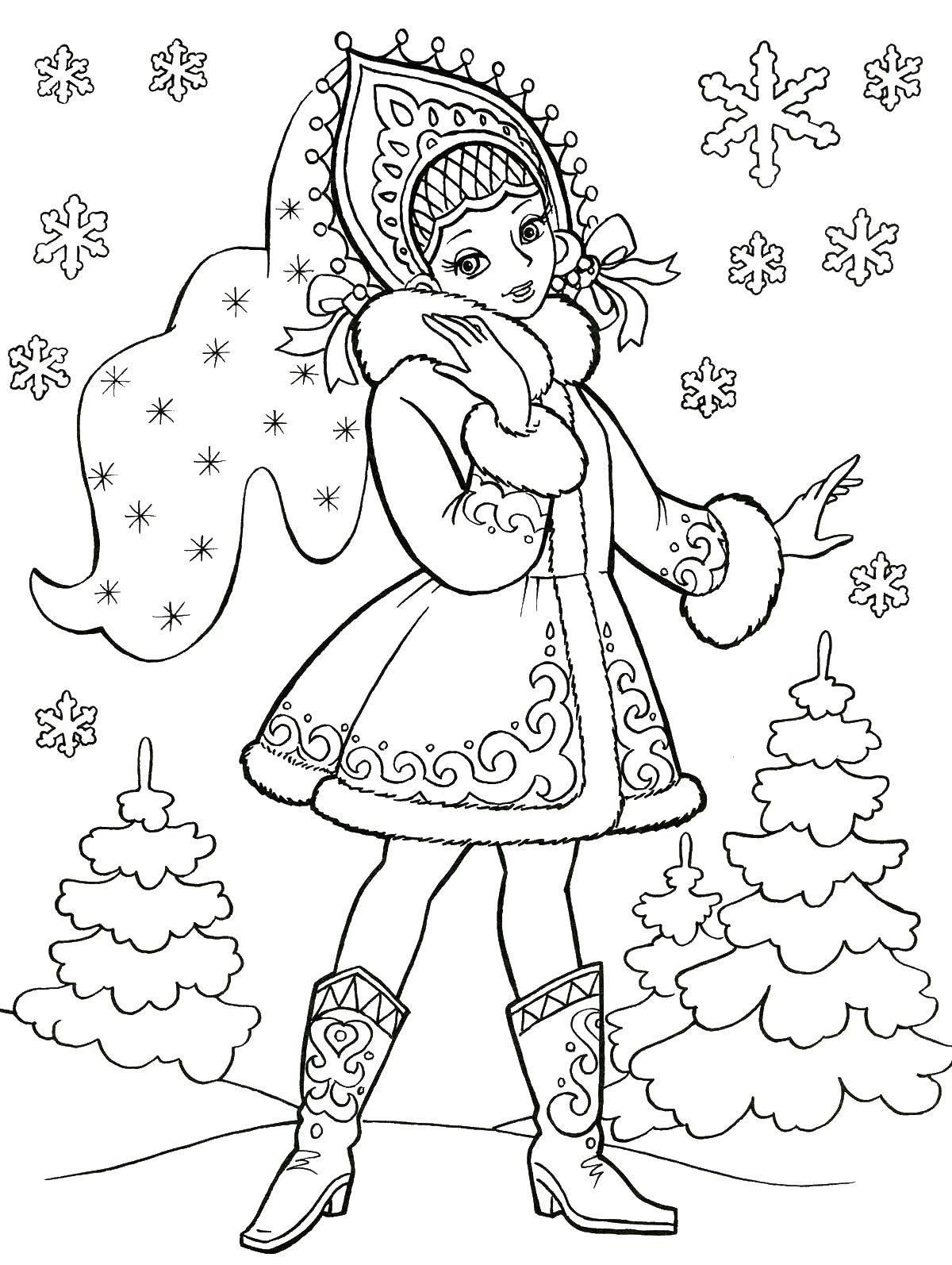 Раскраска сказка снегурочка Скачать маска, крот.  Распечатать ,Маски,