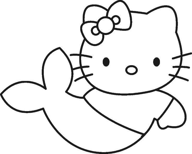 Раскраска Hello kitty русалка Скачать ,Hello Kitty, русалка, хвост, бантик,.  Распечатать