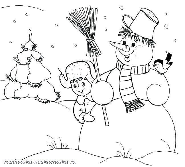Раскраска Мальчик и снеговик. Скачать мальчик, снеговик, метла, птичка.  Распечатать ,зима,