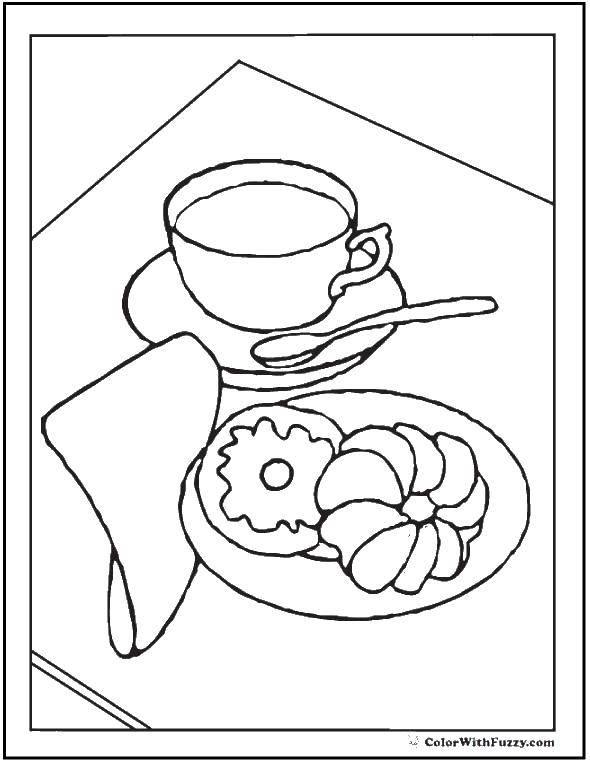 Раскраска Печенья и чашка чая. Скачать чашка, ложка, тарелка, печенки.  Распечатать ,торты,