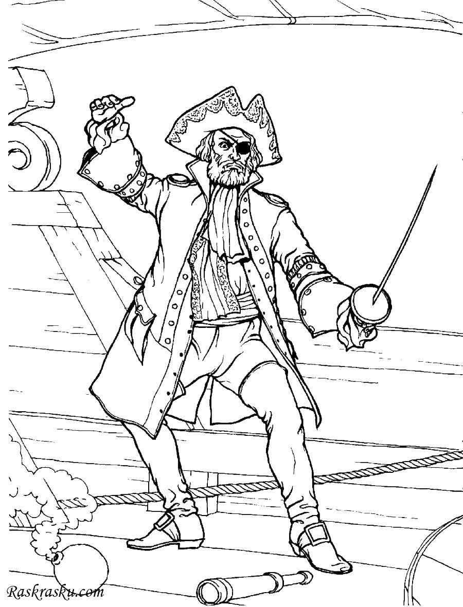 Раскраска Пират готов к драке. Скачать Пират, остров, сокровища.  Распечатать ,раскраска сокровища,