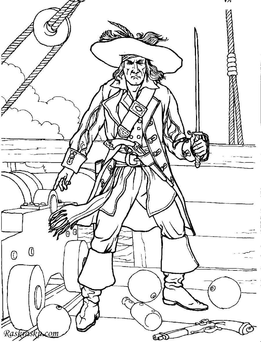 Раскраска Пират на захваченном корабле. Скачать Пират, остров, сокровища, корабль.  Распечатать ,раскраска сокровища,
