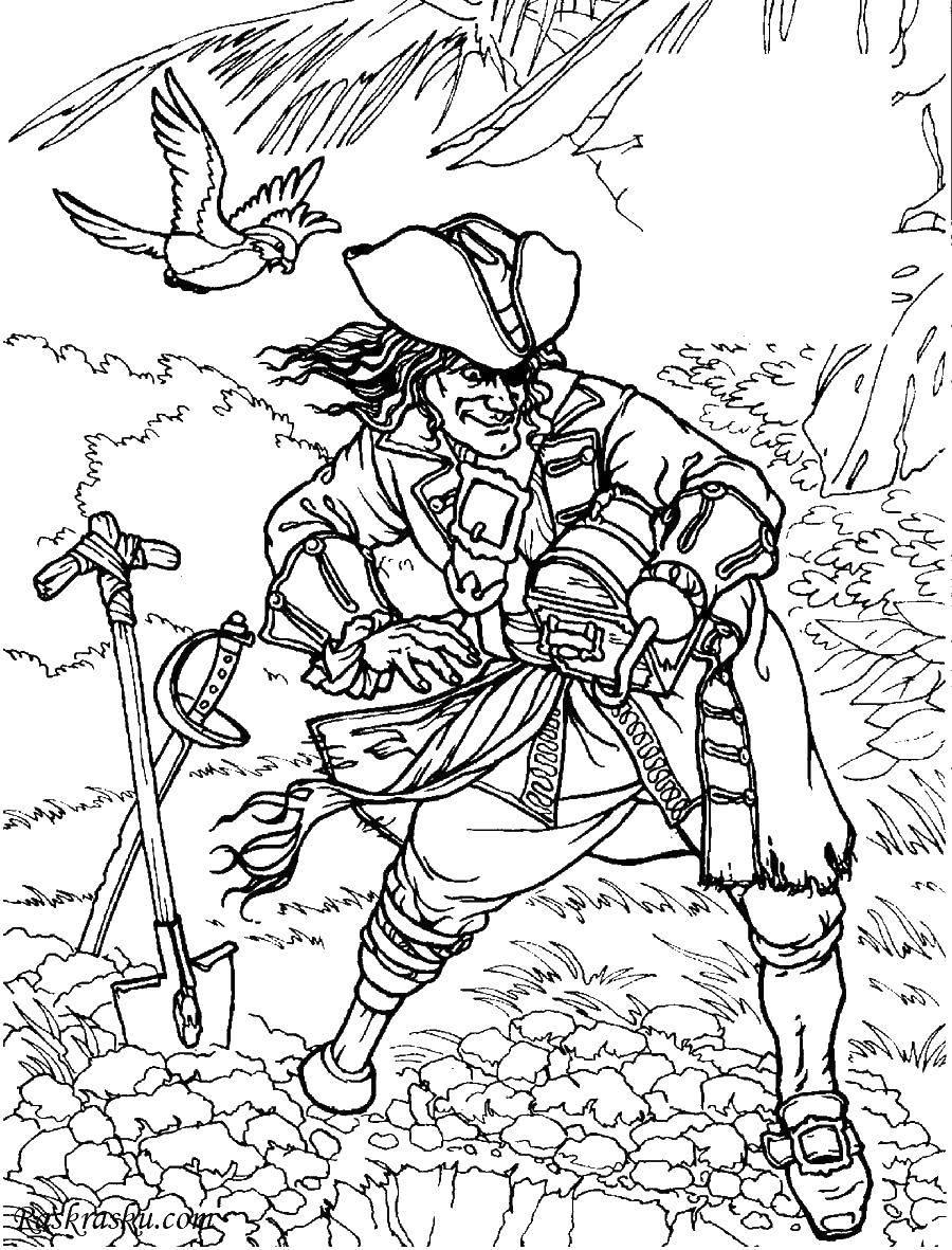 Раскраска Пират пришёл за кладом. Скачать Пират, остров, сокровища.  Распечатать ,раскраска сокровища,