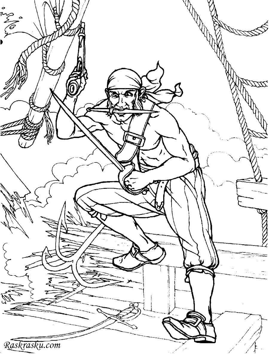 Раскраска Пират разбойник нападает. Скачать Пират, остров, сокровища, корабль.  Распечатать ,раскраска сокровища,