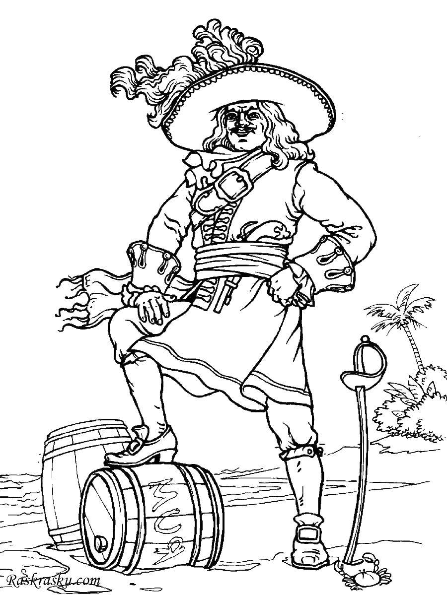 Раскраска Пират у бочки с ромом. Скачать Пират, остров, сокровища.  Распечатать ,раскраска сокровища,
