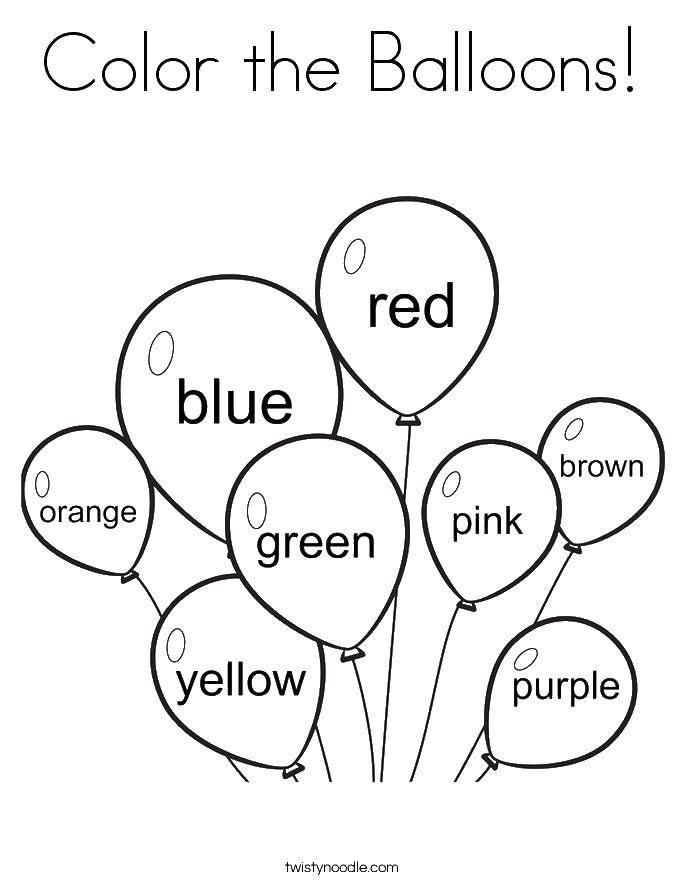 Раскраска Разноцветные шарики. Скачать шарики, цвета.  Распечатать ,день рождения,