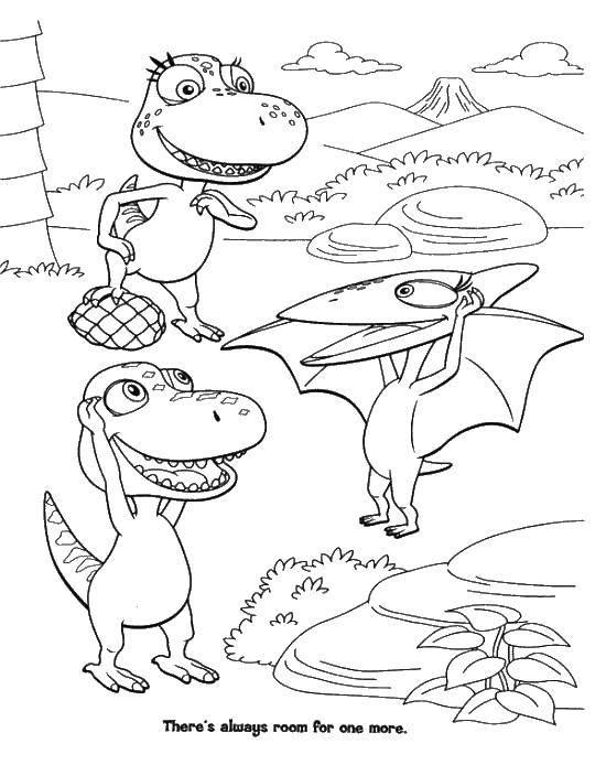 Раскраска Разные динозаврики. Скачать парк юрского периода, динозавры, динозаврики.  Распечатать ,парк юрского периода,