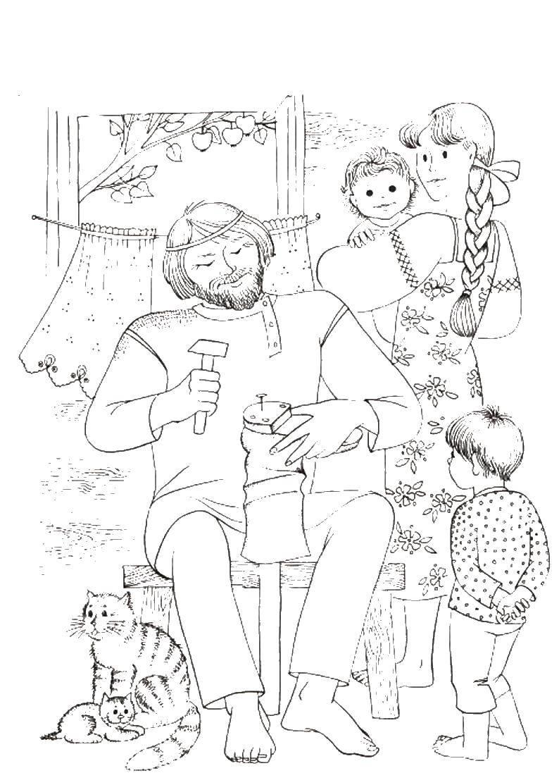 Раскраска Семья в деревне Скачать мама, папа, дети, кошки.  Распечатать ,семья,