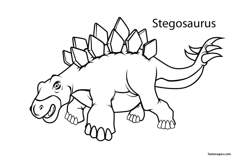 Раскраска Стегозавр. Скачать парк юрского периода, динозавры, снегозавр.  Распечатать ,парк юрского периода,